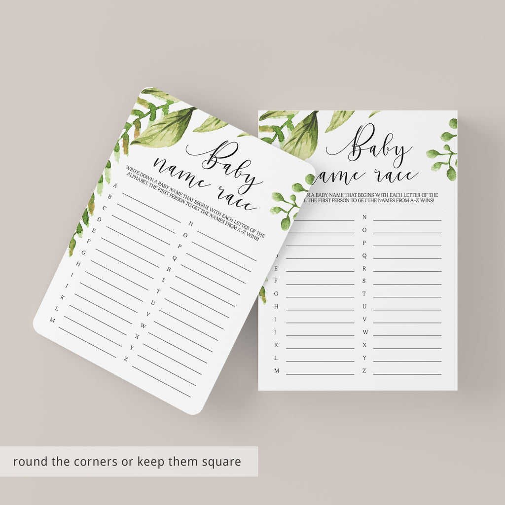 Greenery Baby Name Race Card Printable Baby Shower Game
