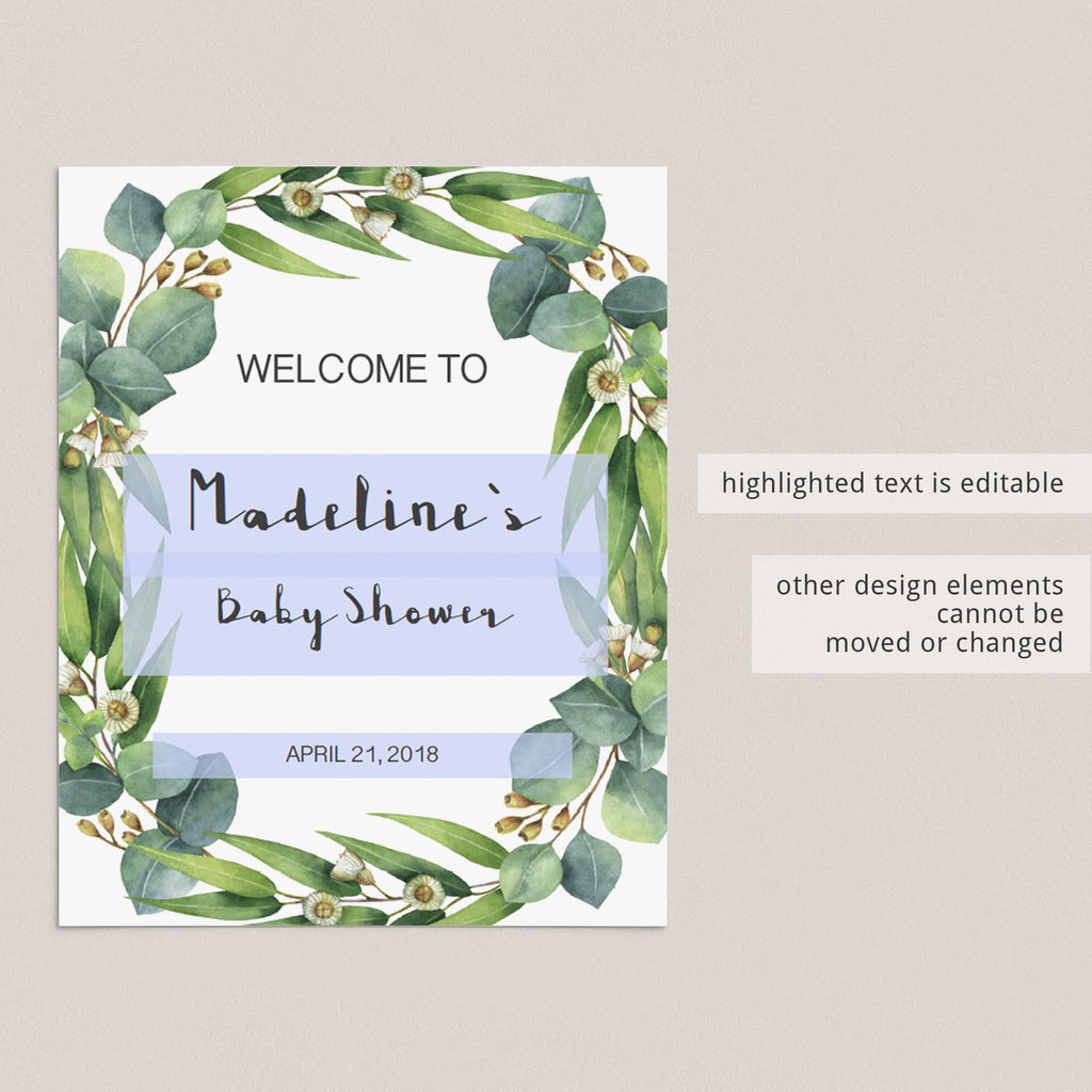 Personalized baby shower welcome sign botanical garden by LittleSizzle