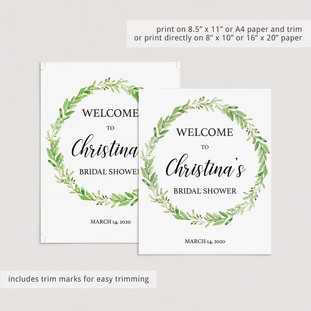 gift sign greenery bridal shower decorations