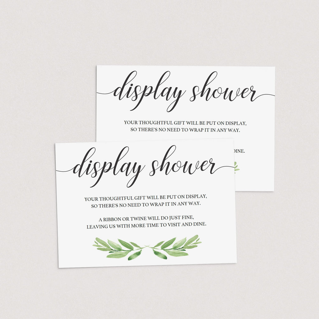 Greenery display shower inserts instant download by LittleSizzle
