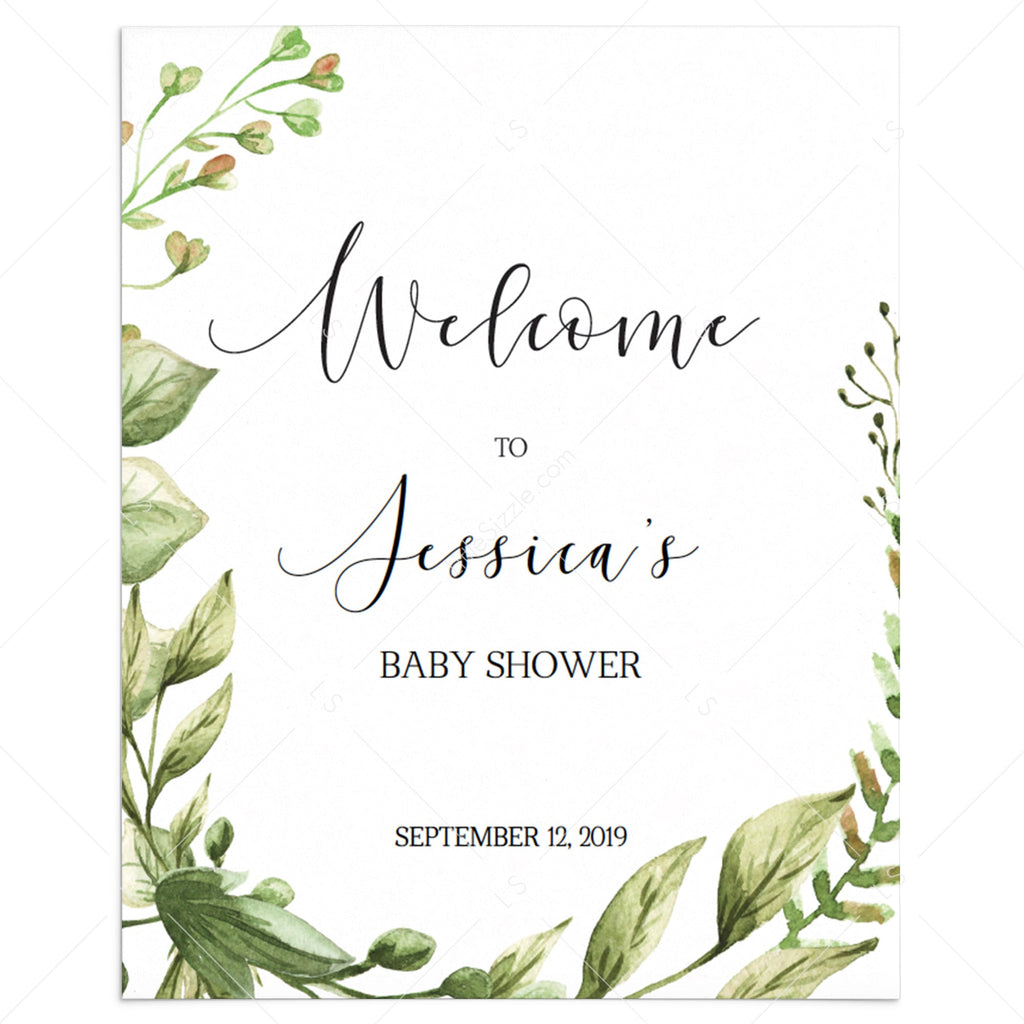 Welcome to baby shower sign editable PDF template green leaves by LittleSizzle