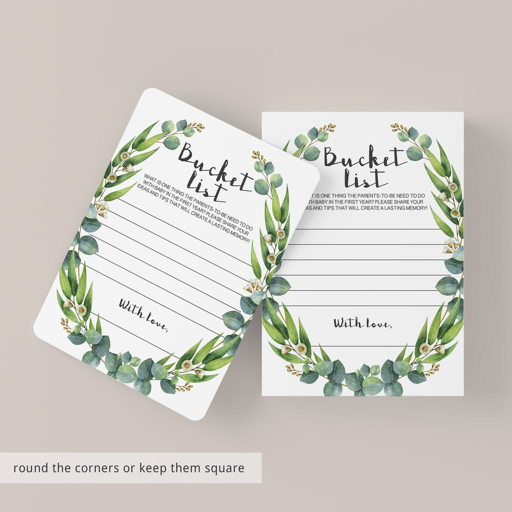 Bucket list for baby cards green wreath by LittleSizzle