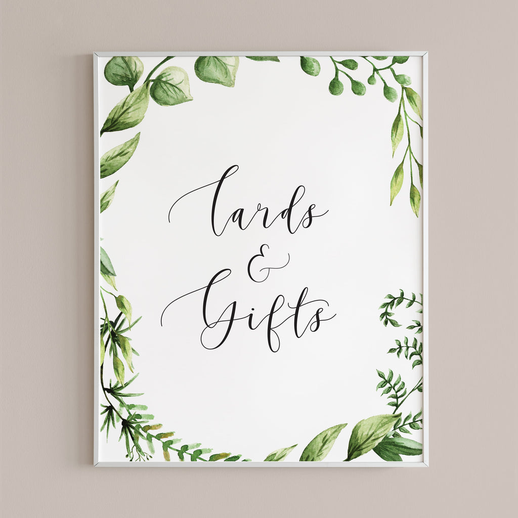 Green cards and gifts table sign printable digital files by LittleSizzle