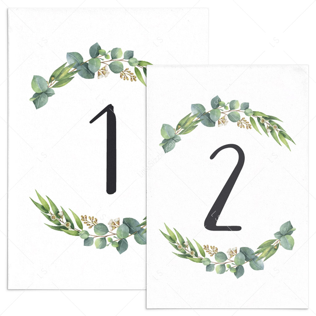 Botanical table numbers template by LittleSizzle