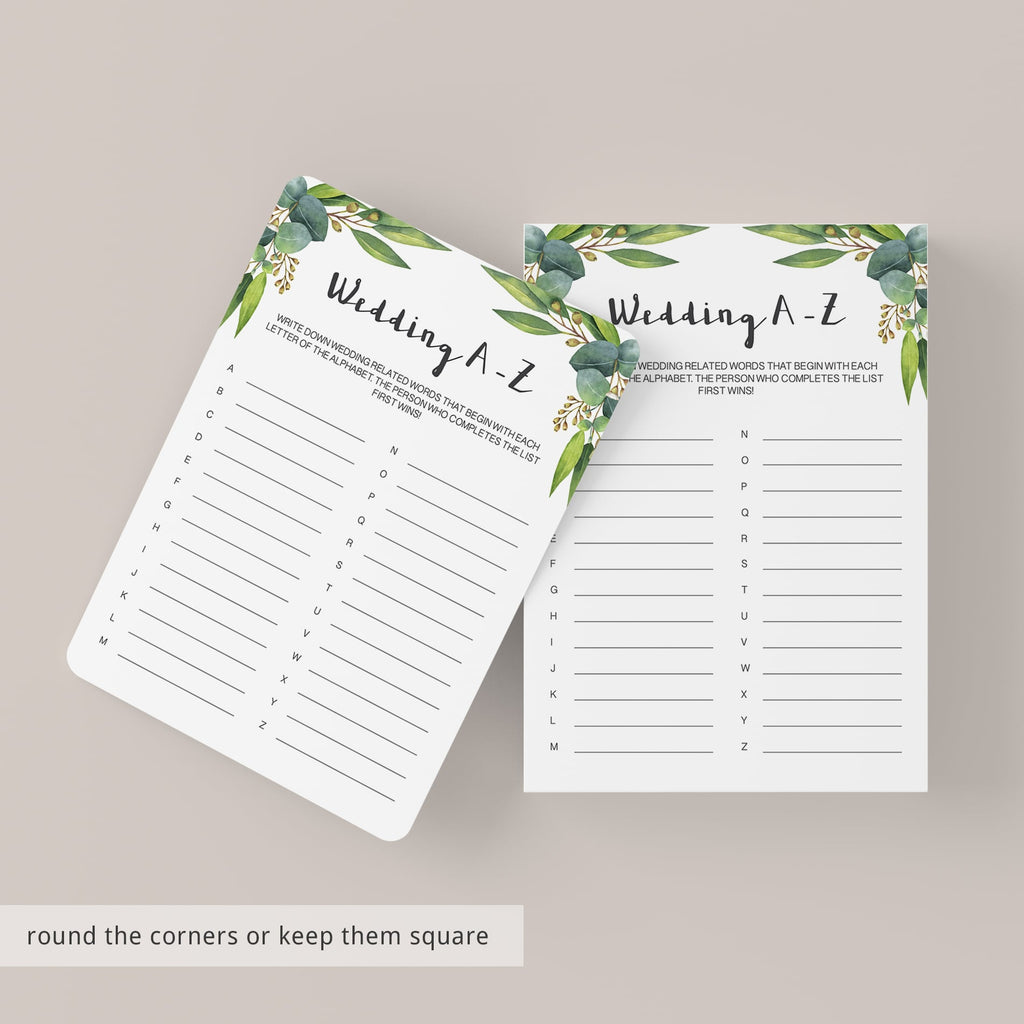 greenery bridal shower games printable downloads