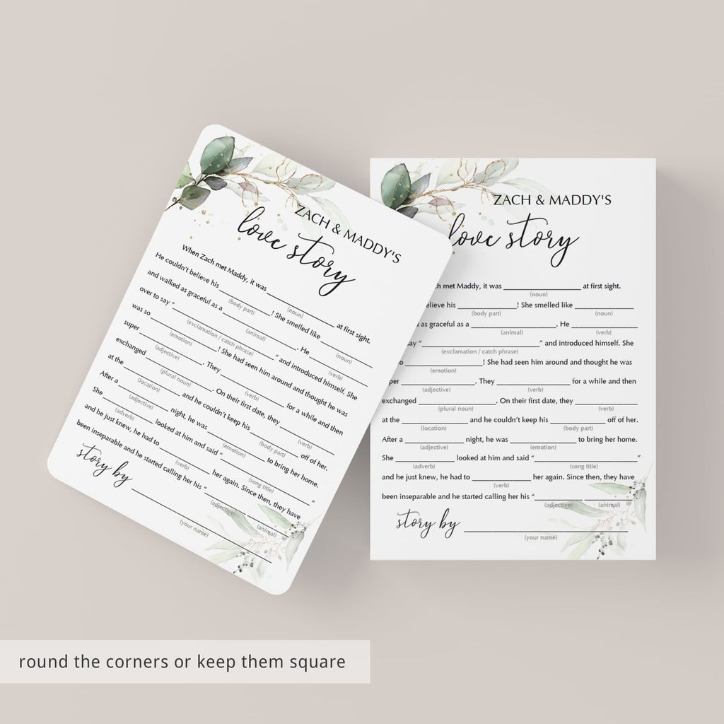 green and gold love story mad libs game template