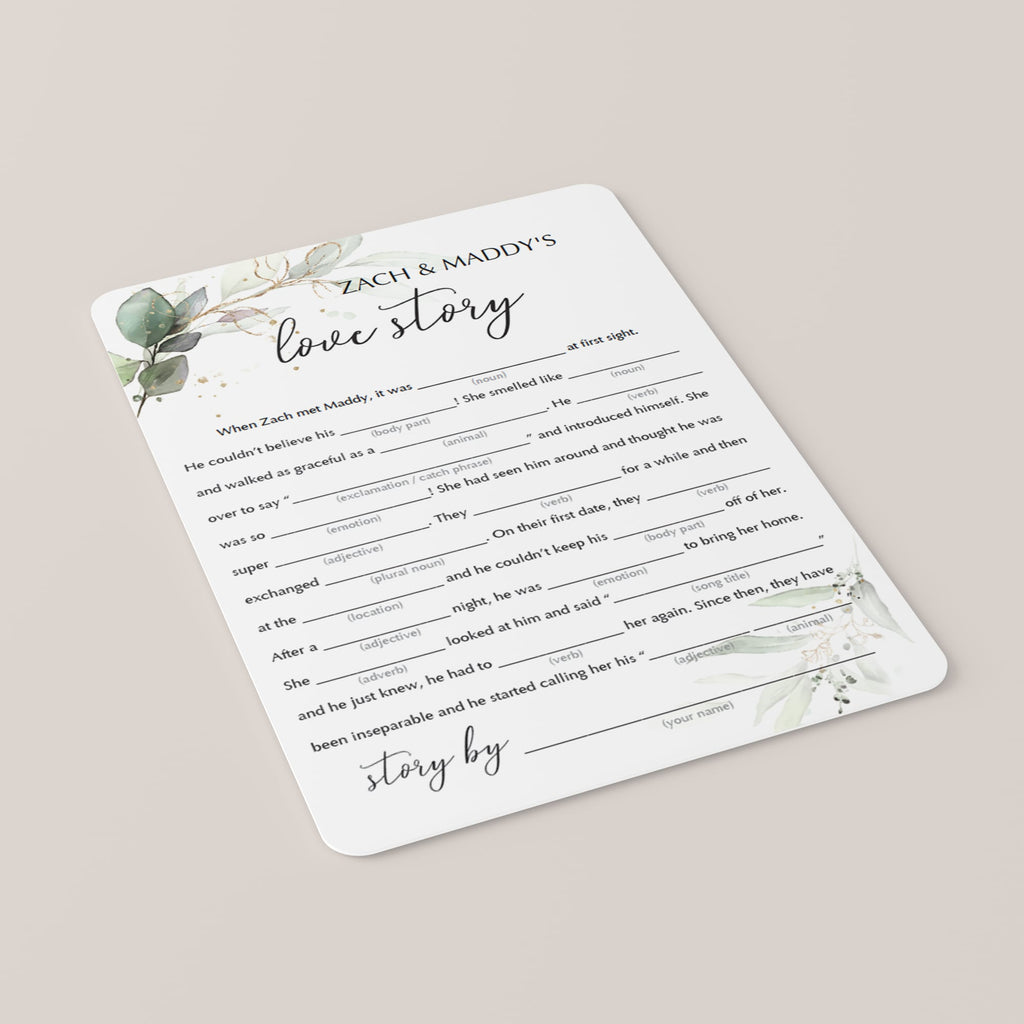 greenery wedding mad libs game cards