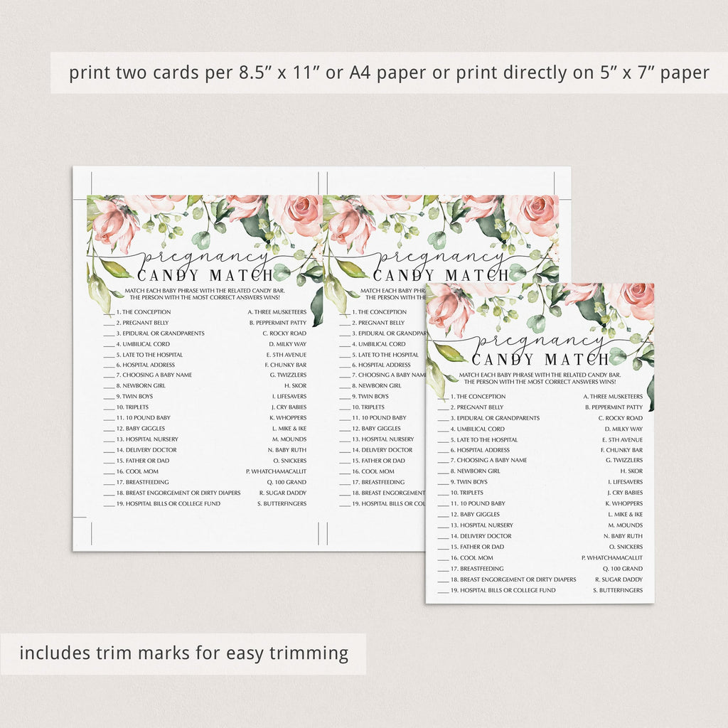 Pregnancy Candy Match Game Printable Floral Themed