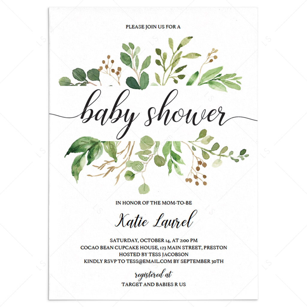 Greenery Baby Shower Invitation Template Instant Download Editable Pdf Littlesizzle