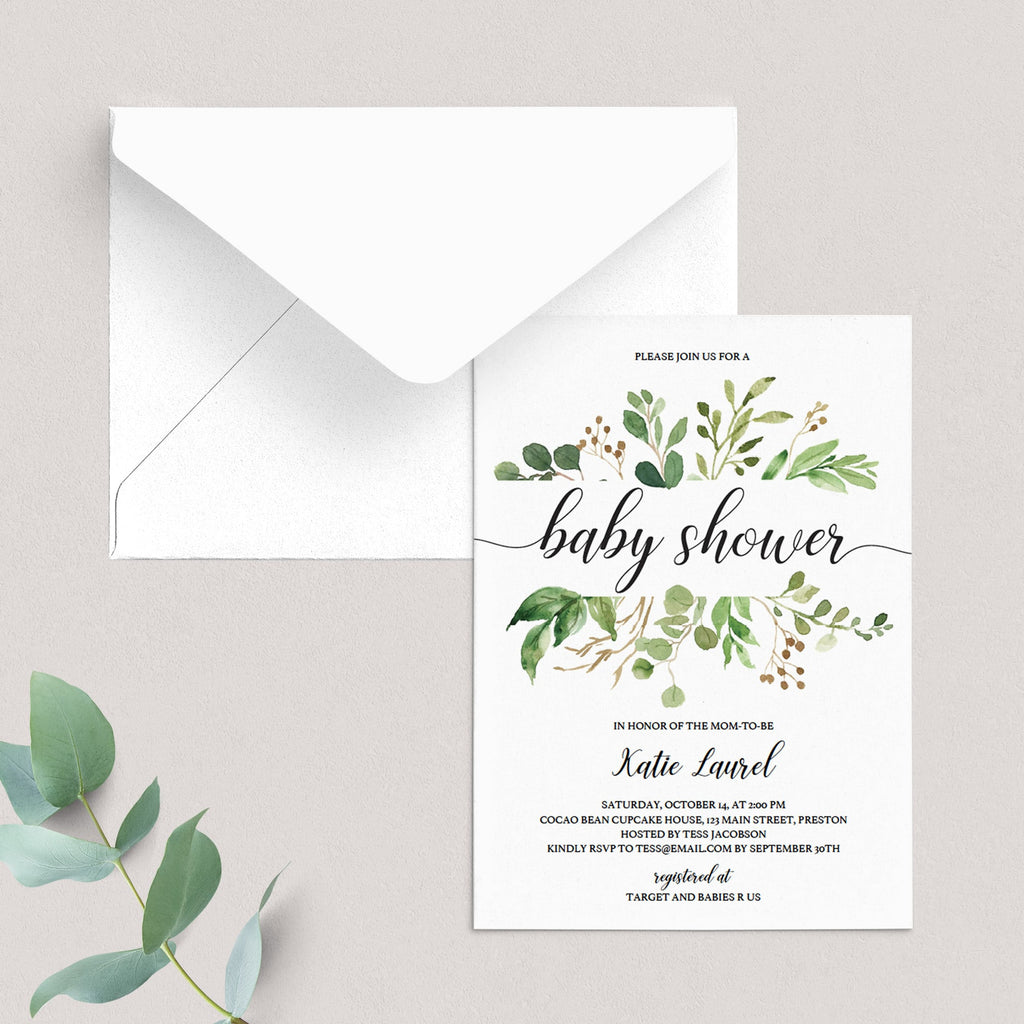 Printable baby shower invitation for greenery themed baby shower by LittleSizzle
