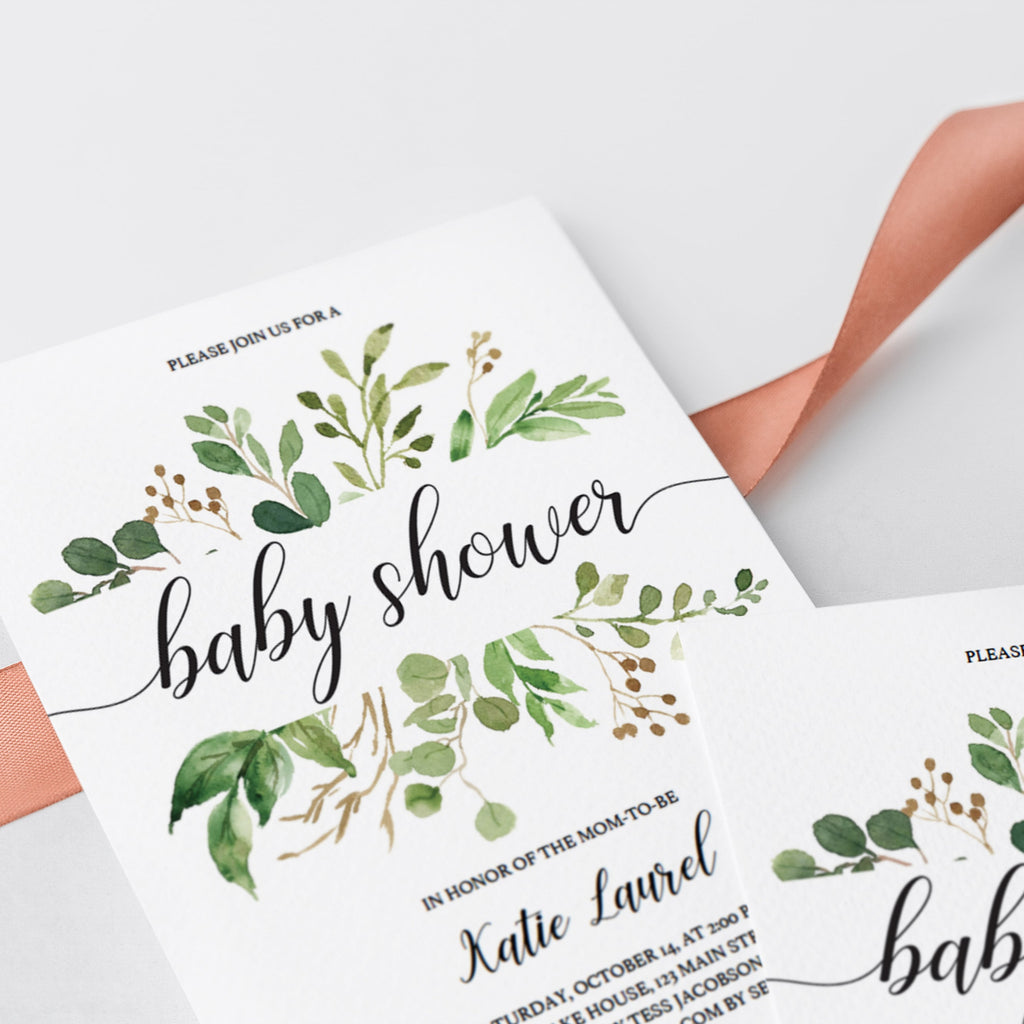 Green Leaf baby shower invitation DIY by LittleSizzle