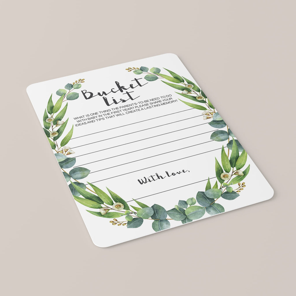 Printable bucket list cards with green wreath instant download by LittleSizzle