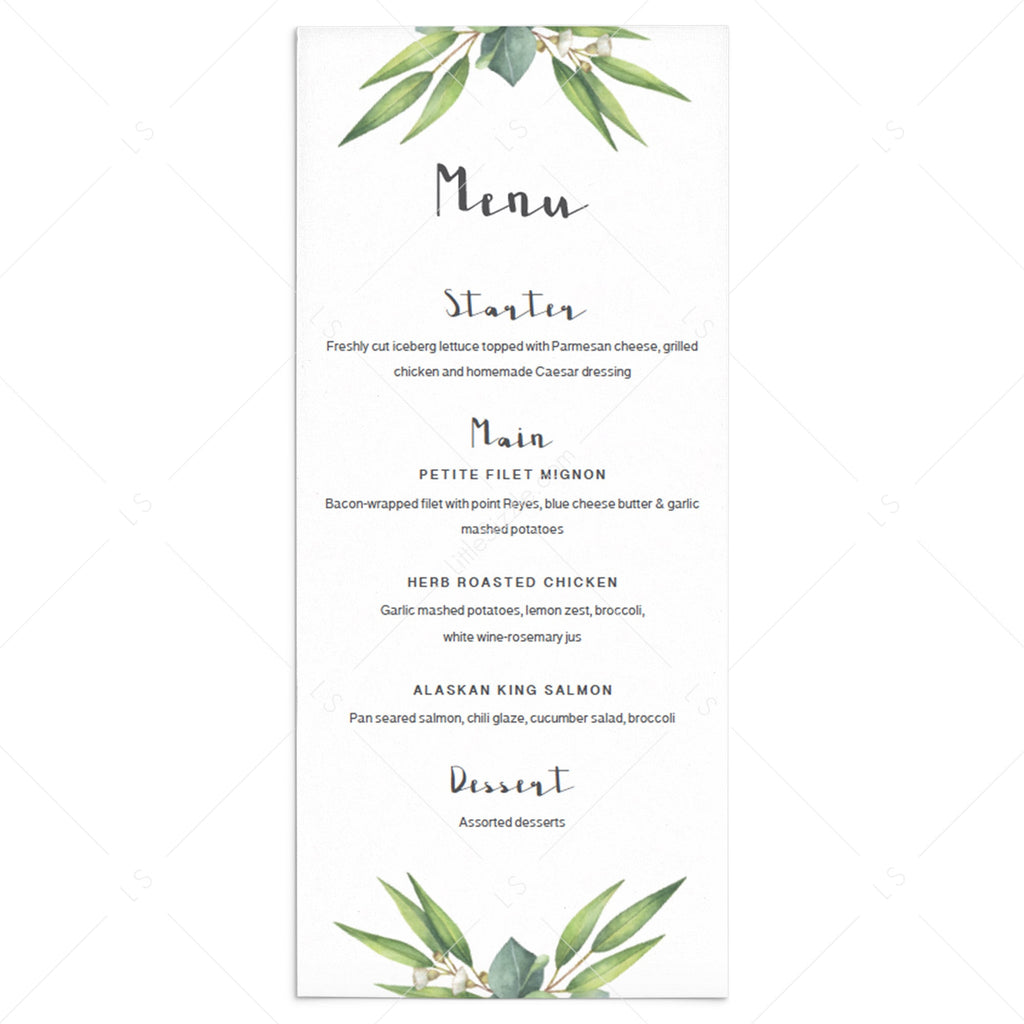 Baby shower menu card template by LittleSizzle