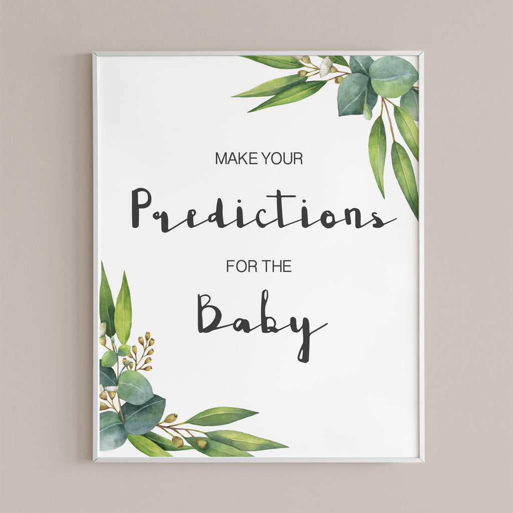 Baby predictions sign for greenery baby shower by LittleSizzle