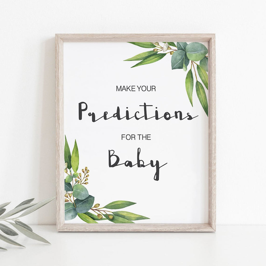 Green themed baby shower decorations predictions sign by LittleSizzle