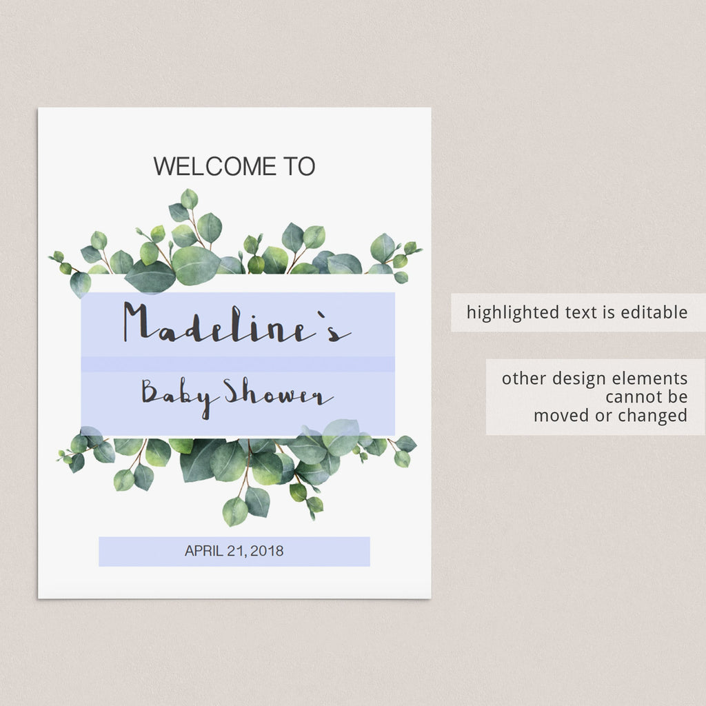 Instant download welcome to baby shower table sign by LittleSizzle