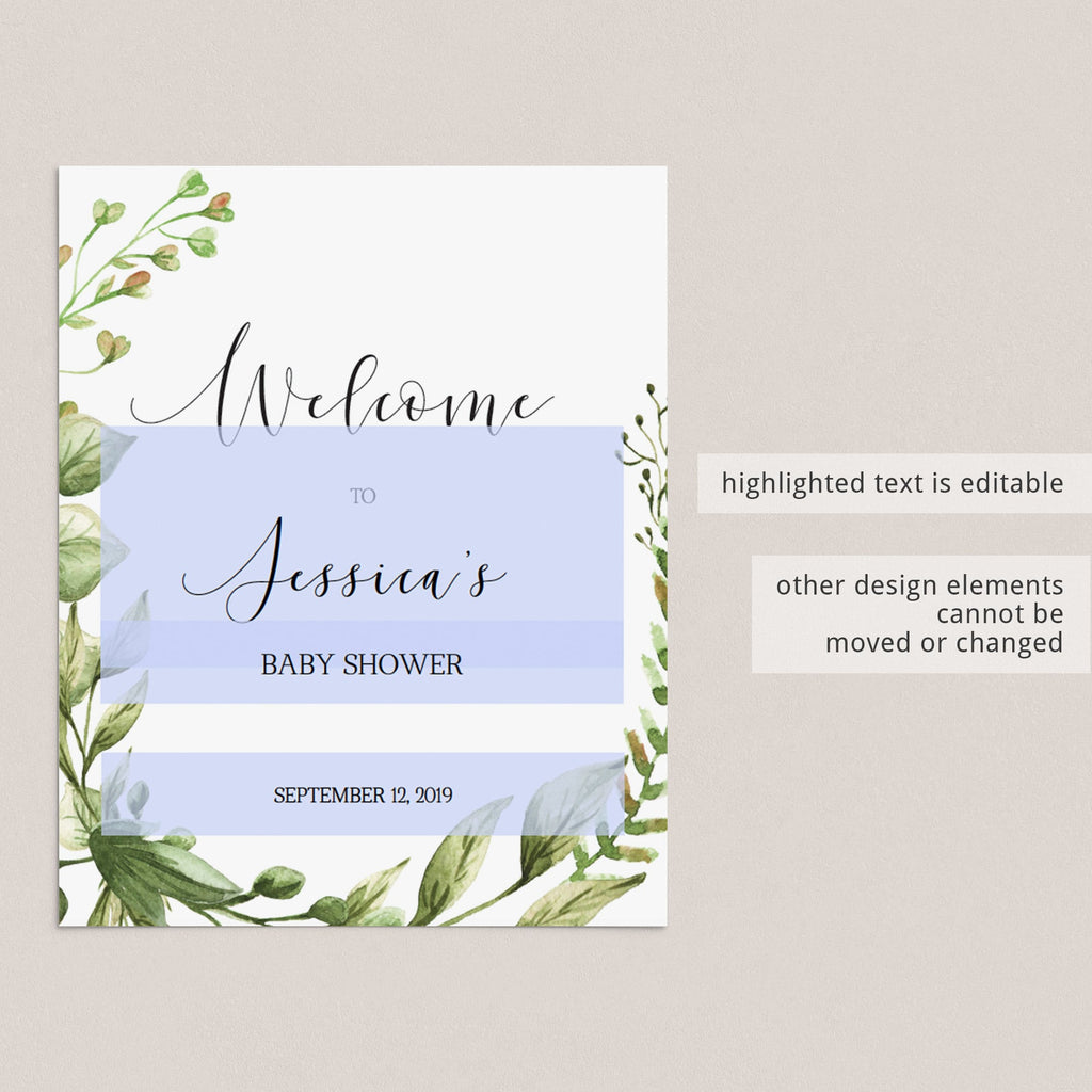 Editable baby shower decor greenery themed by LittleSizzle