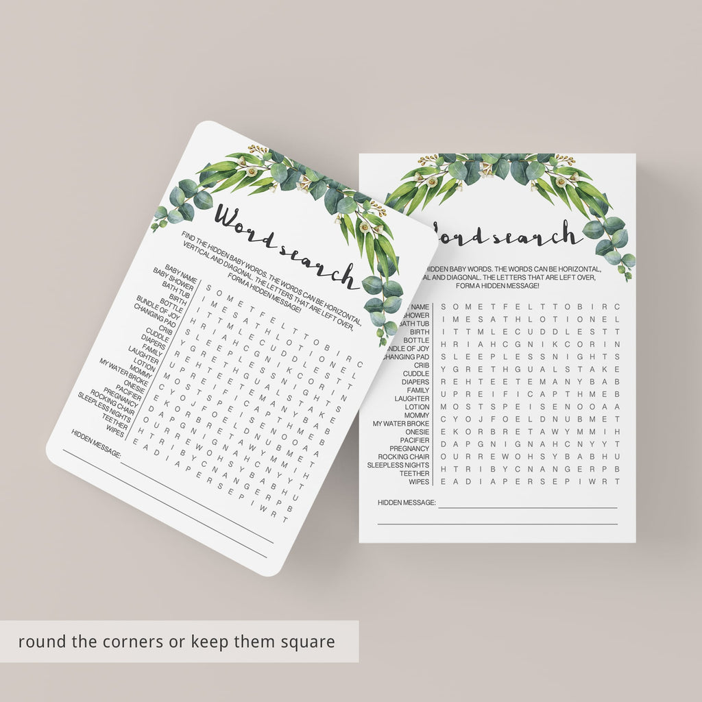 Printable baby shower word search games botanical by LittleSizzle