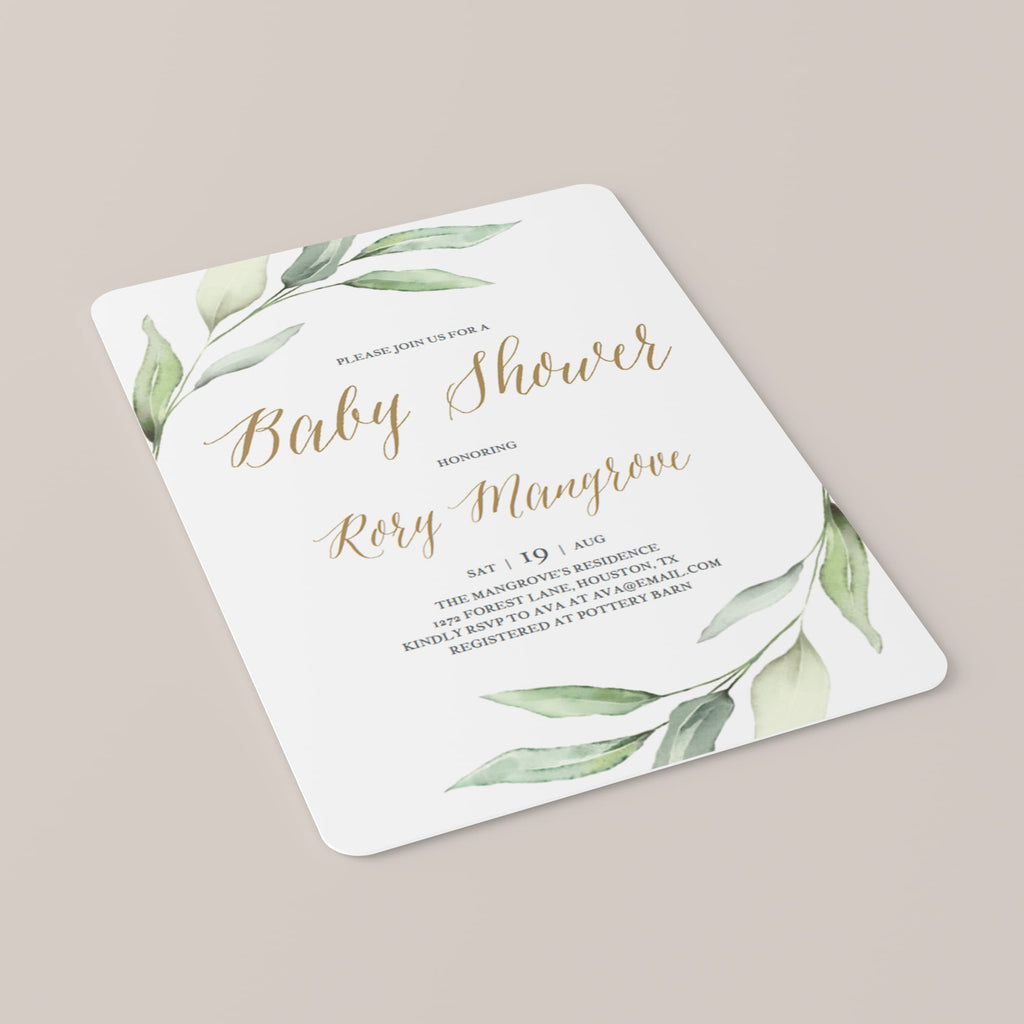 Gold and green baby shower invitations gender neutral by LittleSizzle