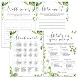 Watercolor Leaves Bridal Shower Games Bundle Instant Download by LittleSizzle