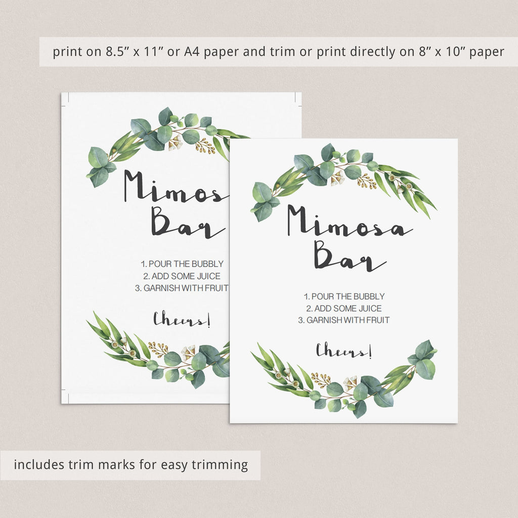 Instant download green wreath mimosa bar decor by LittleSizzle