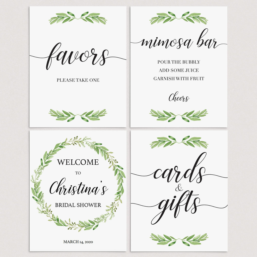 Green Leaf Bridal Shower Signs Bundle Instant Download