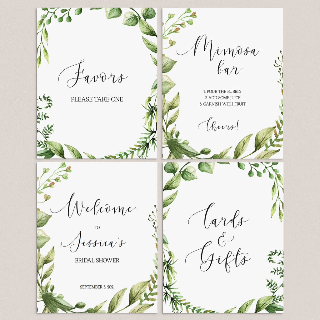 Greenery Bridal Shower Decor Signs Pack Printable by LittleSizzle