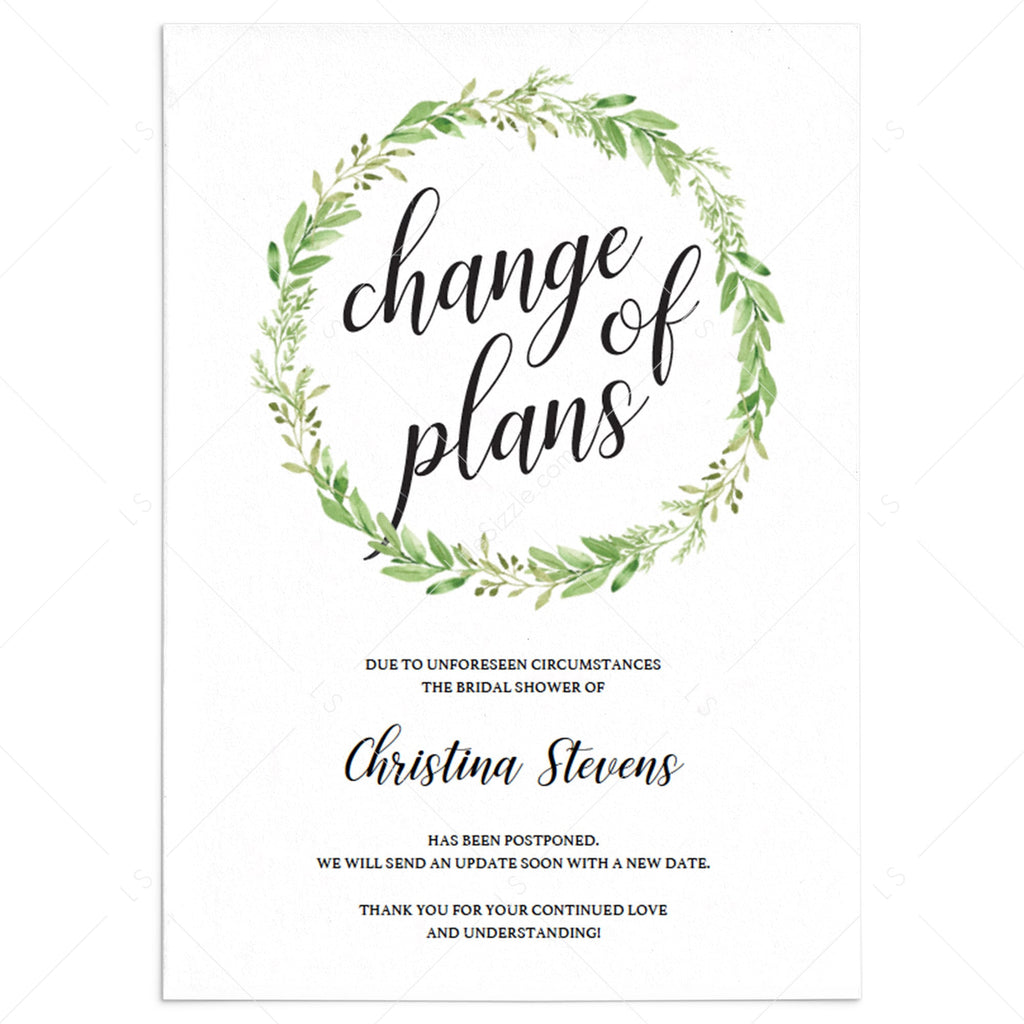 Greenery Bridal Shower Postponed Announcement Change The Date by LittleSizzle
