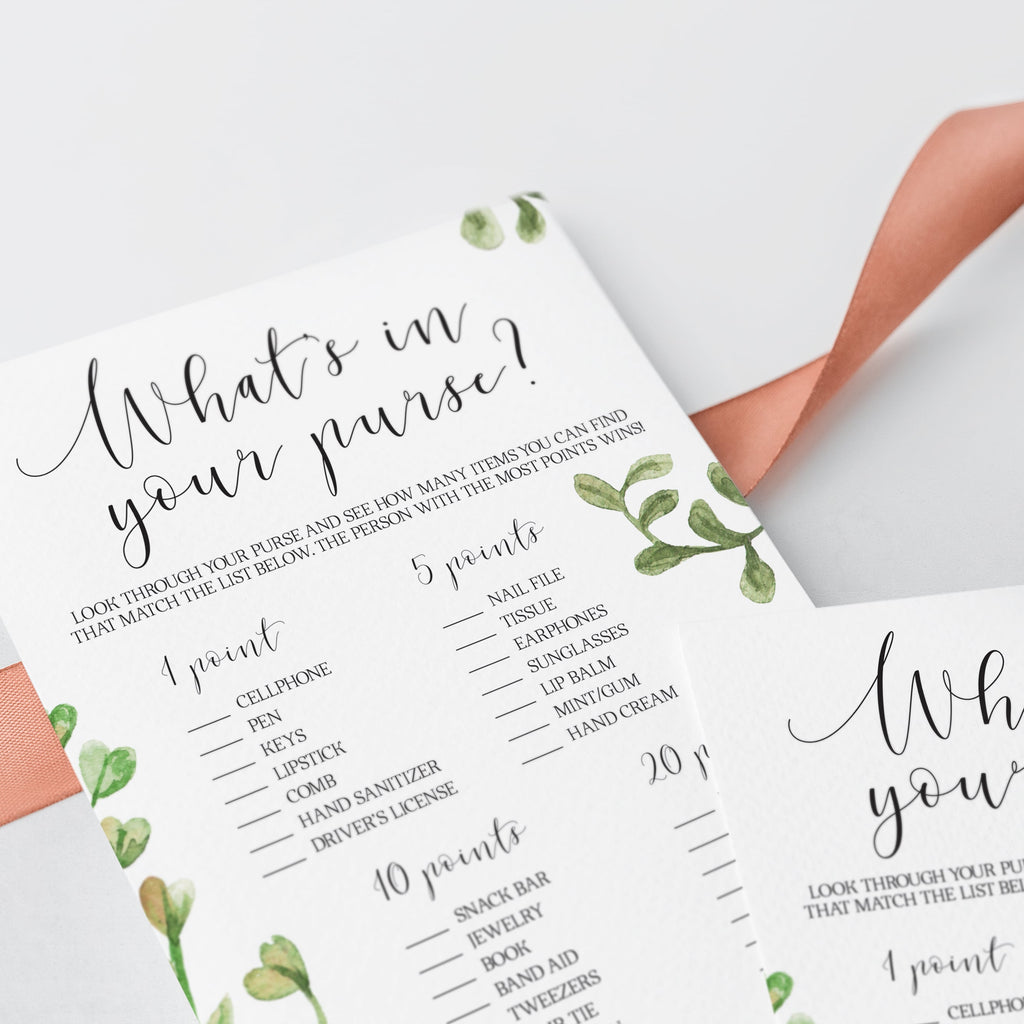 watercolour bridal shower whats in your purse game printable