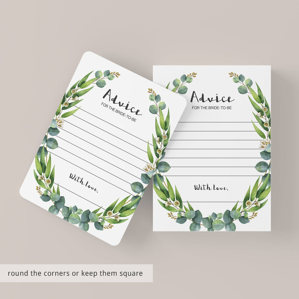 watercolor wedding advice cards green leaves