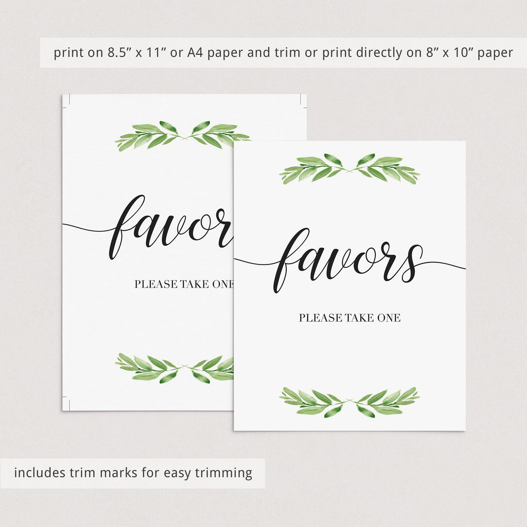 Favors sign printable green leaf by LittleSizzle