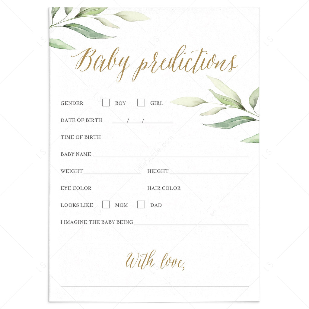 Baby prediction game for greenery baby shower by LittleSizzle