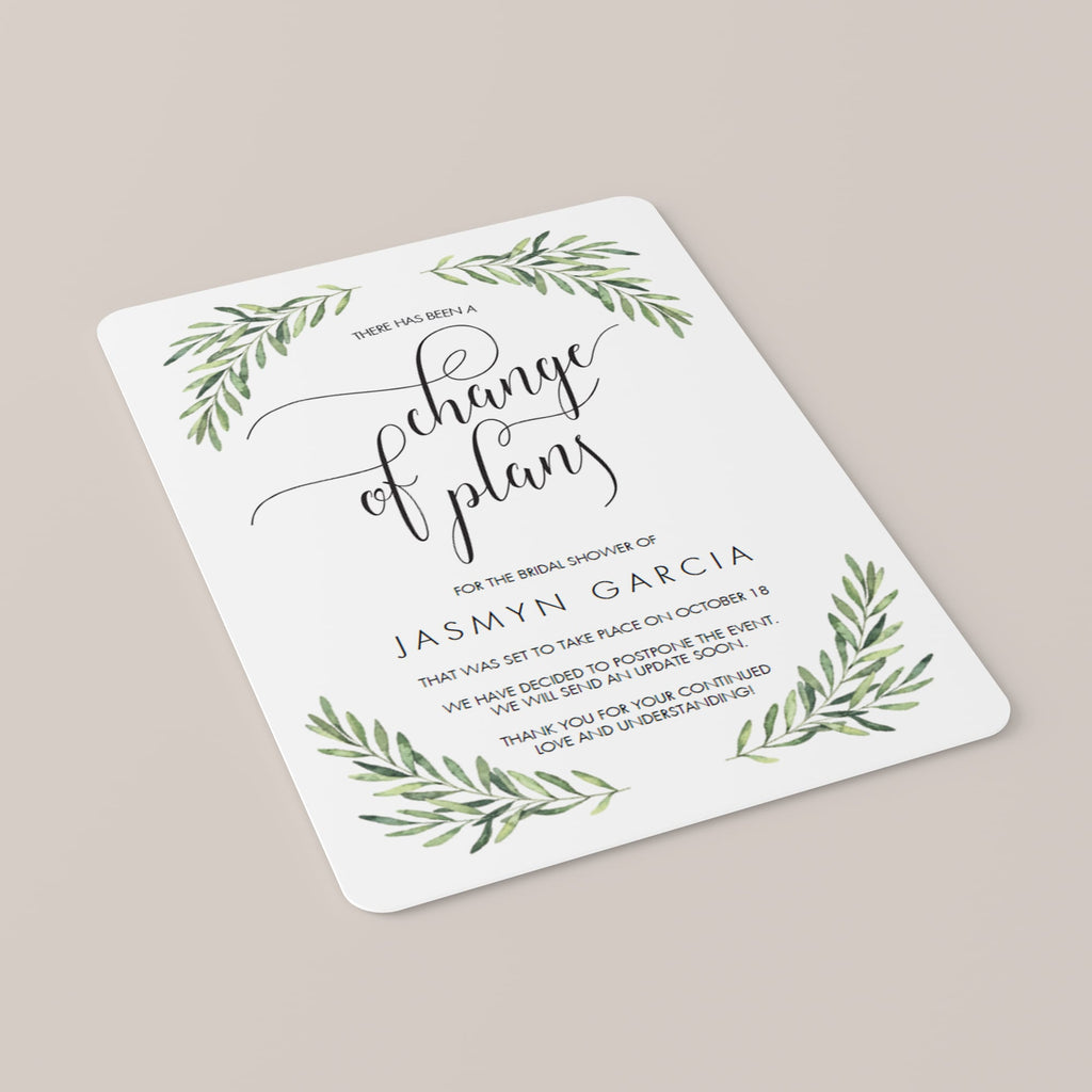 Change of Plans Announcement Template Greenery
