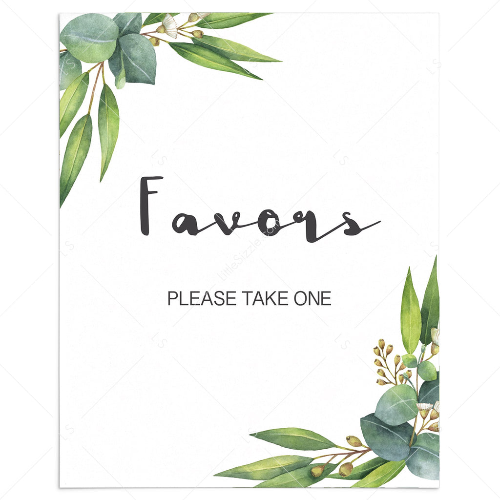 Botanical baby shower favors sign printable by LittleSizzle