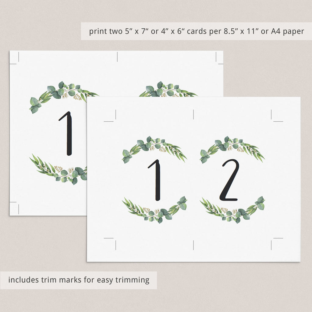 DIY table numbers greenery table decor by LittleSizzle