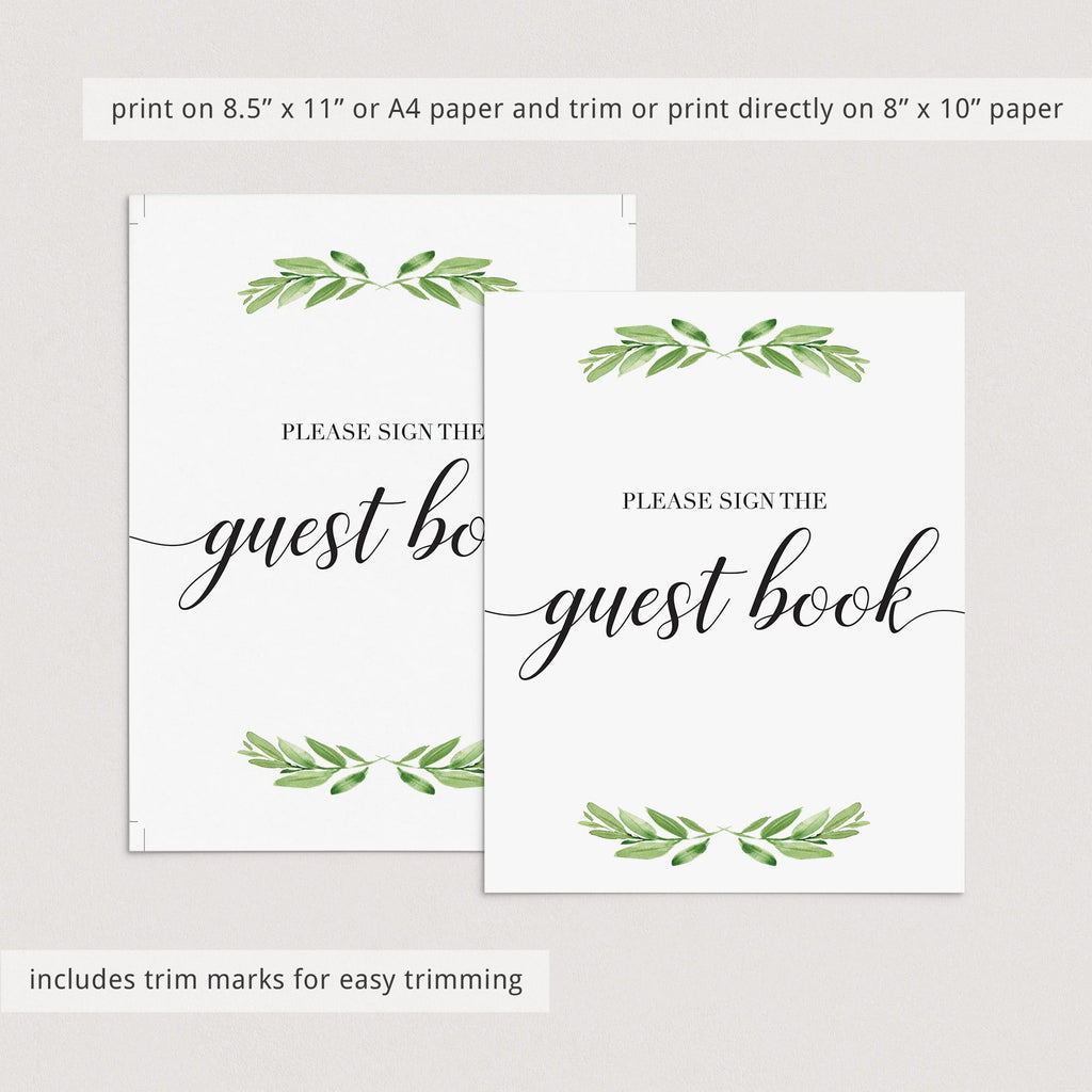Green wedding decorations printable guest book table signby LittleSizzle