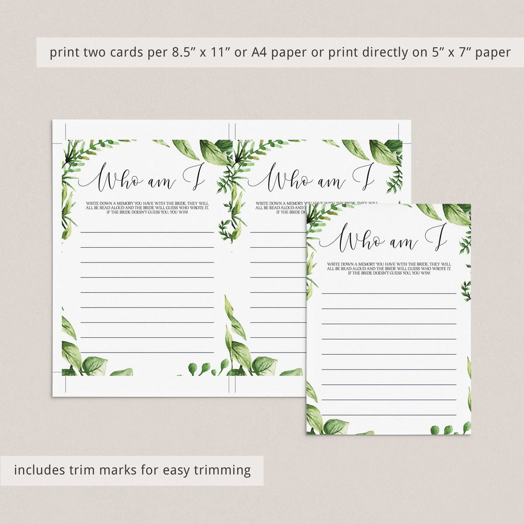 greenery who am i bridal shower games printable