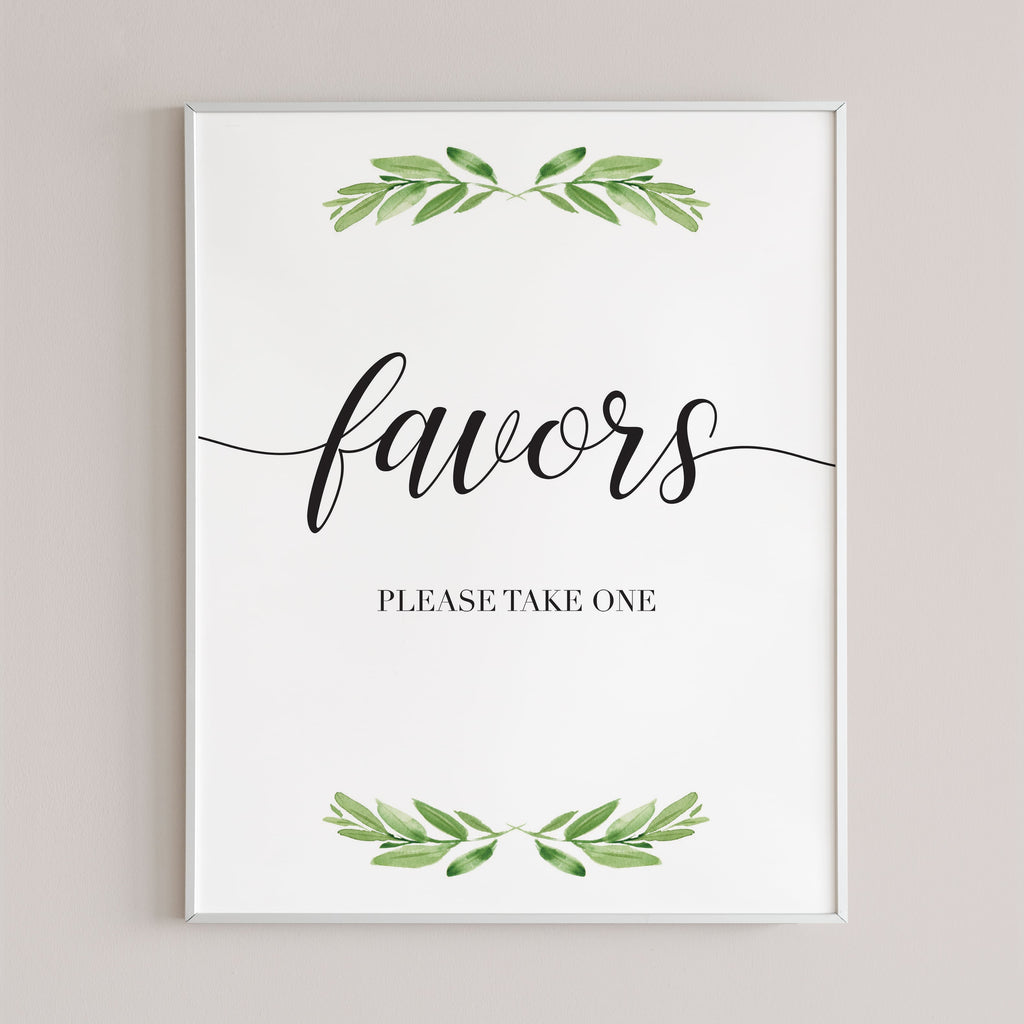 Please take one favors sign for green themed party by LittleSizzle