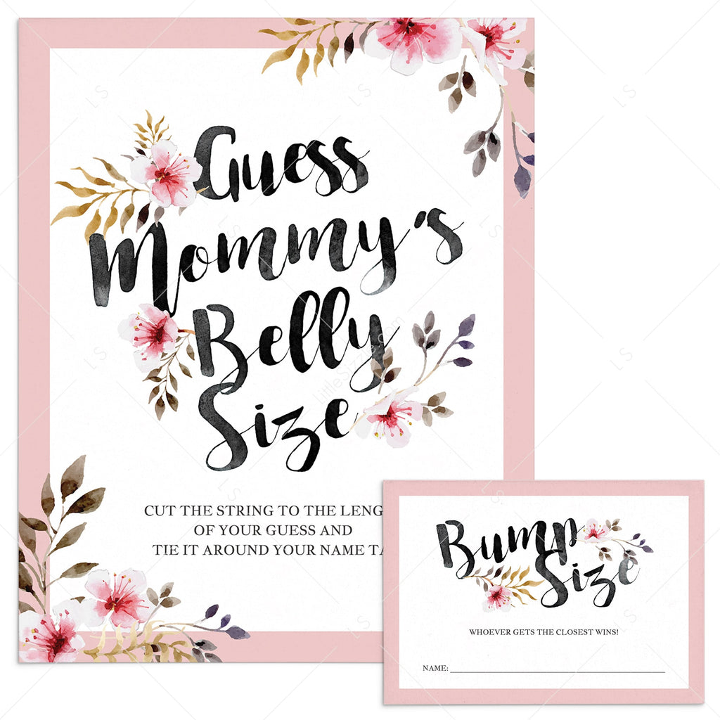 Guess Mommy S Belly Size Baby Shower Game With Blush Flowers Littlesizzle