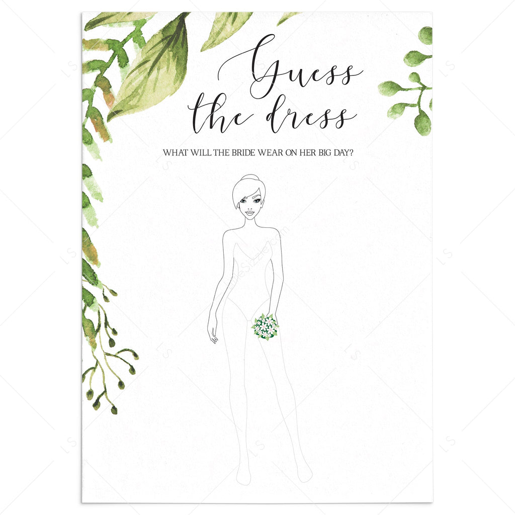 draw the wedding dress game for bridal shower greenery theme