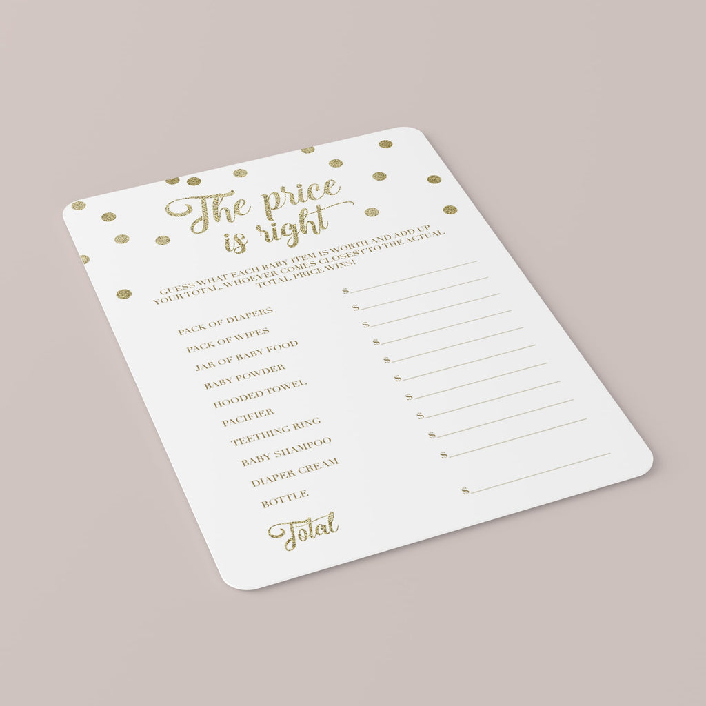 Price is Right Baby Shower Game Printable & Fillable PDF Template
