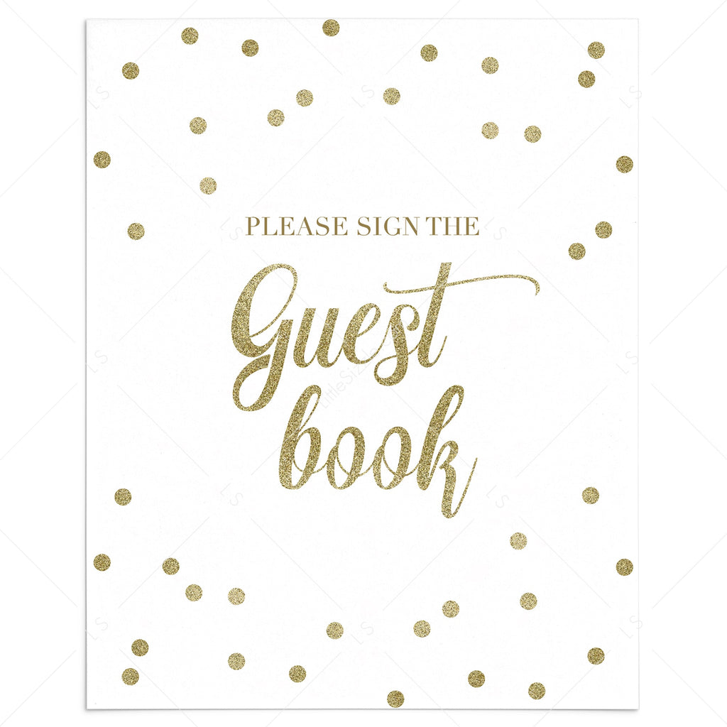 Gold guest book sign printable by LittleSizzle
