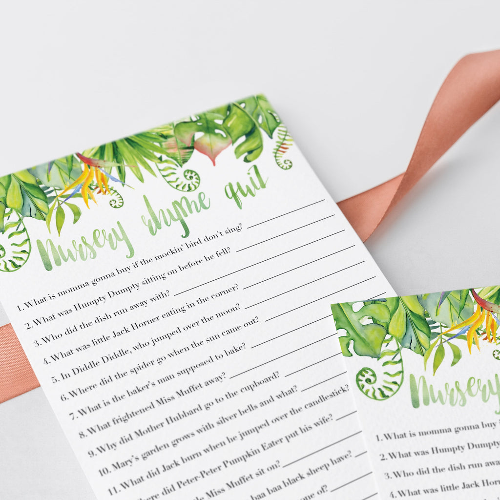 Green leaf watercolor baby party games by LittleSizzle