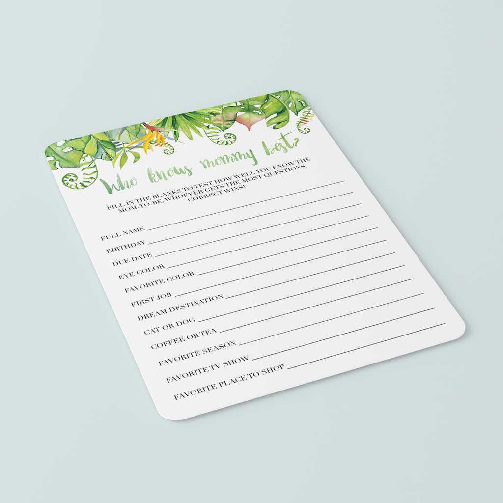 Hawaiian Baby Party Game Printable Who Knows Mommy Best