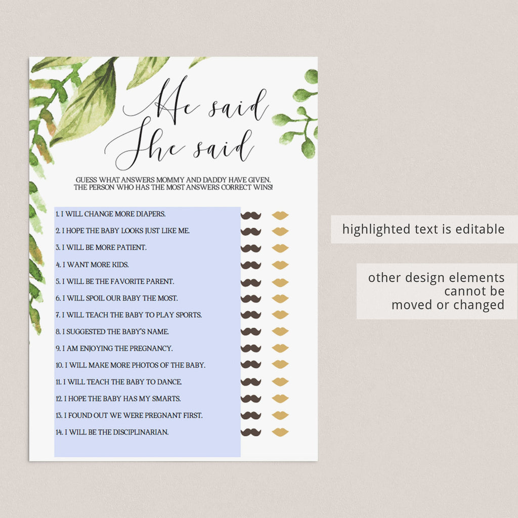 Botanical Baby Shower Games Printable Package