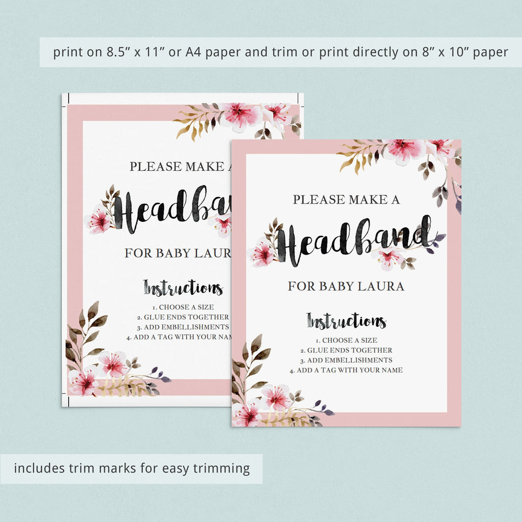 Headband Station Sign Floral Baby Shower Printable