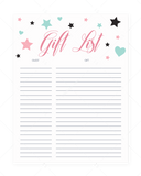 Printable gift list with pink and mint hearts and stars by LittleSizzle