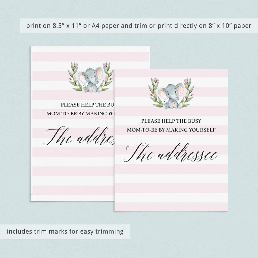 Addressee Sign for Baby Shower Printable Pink and White