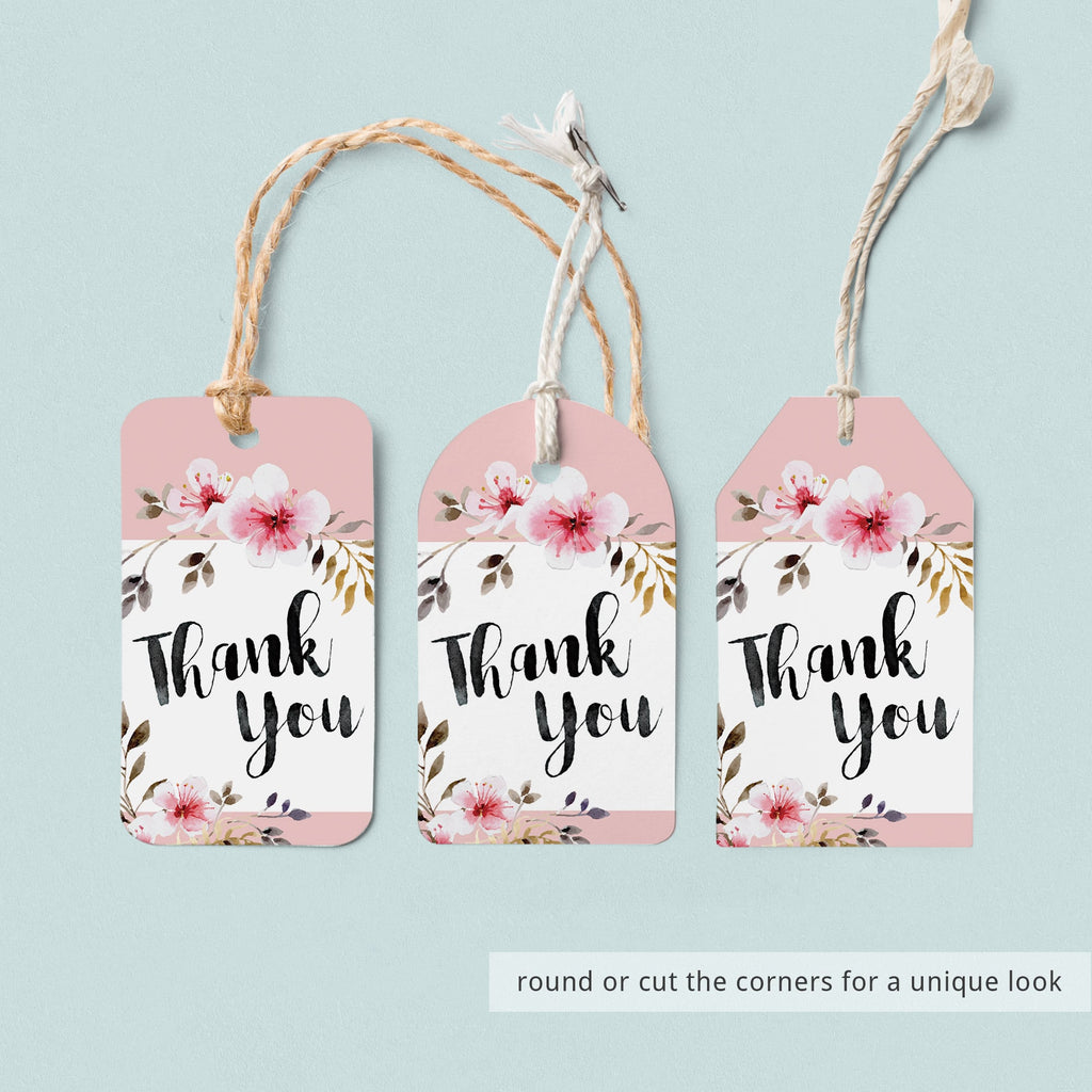 Watercolor pink flowers favor tag printable files by LittleSizzle