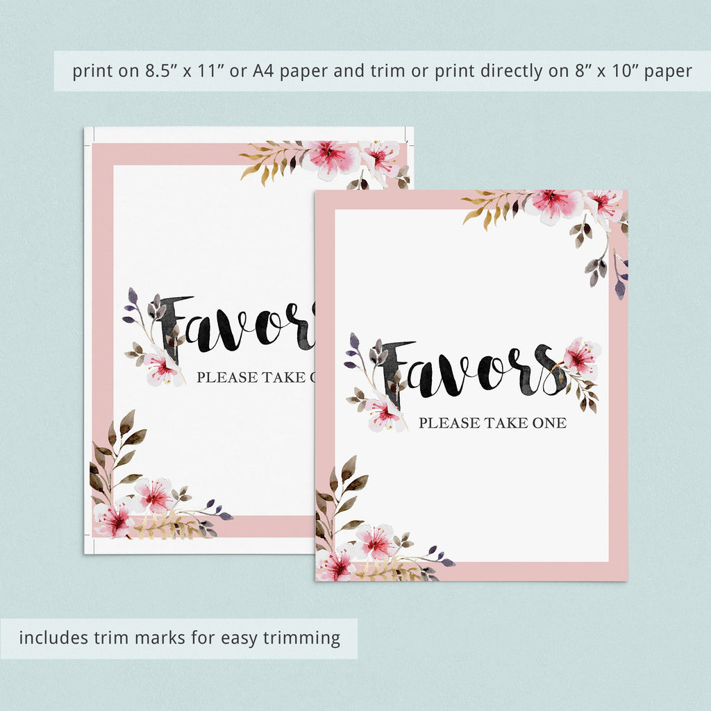 Blush favors sign printable by LittleSizzle